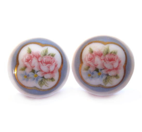 Vintage Porcelain Earrings, Ceramic Flower Cameo, Pierced
