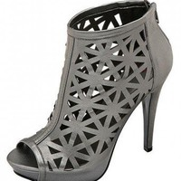 SILVER CUTOUT PATTERN PEEP TOE BOOTIES @ KiwiLook fashion