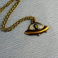 Alien in Saucer Necklace