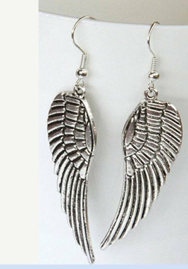 antiqued silver Angel wings Earrings- SALE