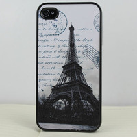Retro The Eiffel Tower Black  Hard Case Cover for Apple iPhone 4gs Case, iPhone 4s Case, iPhone 4 Hard Case