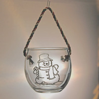 Christmas Ornament Hand Engraved Glass Snowman