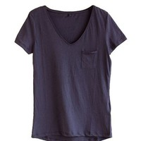 Cotton Pocket Tees with V Neckline