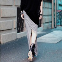 Knit Modal Maxi Skirt in Grey