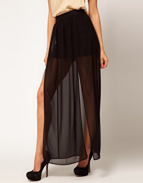 ASOS Maxi Skirt with Double Split at asos.com