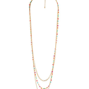 Vibrant Beaded Chain Necklace
