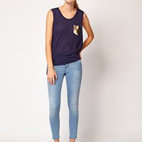Sass and Bide Time For Dinner Sequinned Back Tee with Dipped Hem at asos.com