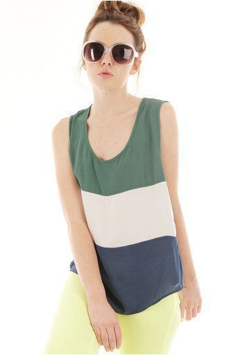 GREEN COLOR BLOCK TOP @ KiwiLook fashion