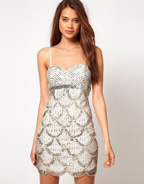 Lipsy VIP Bandeau Embellished Dress at asos.com