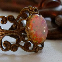 Antique Brass Vintage Glass Opal Ring