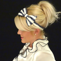 Nautical blue and white stripe silk bow headband retro/pinup/feminine