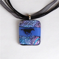 Dichroic Fused Glass Pendant Necklace, Running Horse on Blue Glass