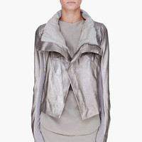 Rick Owens Metallic Silver Leather Biker Jacket for women | SSENSE