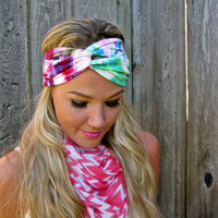 Vintage Turban Style Stretch Jersey Knit Headband in Tie Dye