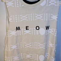 Cream and White Aztec Printed &#x27;Meow&#x27; Tank