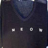 Black &#x27;Meow&#x27; V-neck Sweater