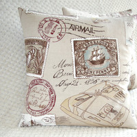 FREE DELIVERY Travel Stamps Postcard Pillow Cushion Cover