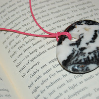 Zebra Stone Focal Pendant and Pink Leather Necklace