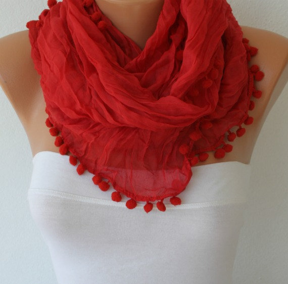 Red - Shawl Scarf -  Cowl