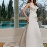 Trumpet / Mermaid Halter Embroidery Sleeveless Court Trains Satin Wedding Dresses YSP0057 | $149.66 | Maryswill.com.