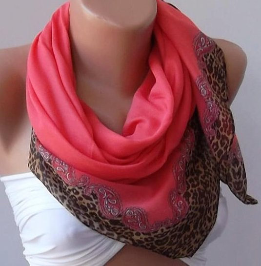 Elegant - Pomegranate Flower / Leopard- Cotton Shawl/Scarf/Soft cotton fabric.