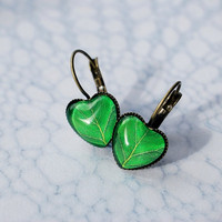 Leaf Earrings Green Leaf Wearable Art Earrings Antique Brass Spring Dangle
