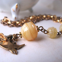 Butterscotch bracelet with vintage Japanese lampwork glass