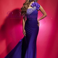 Elevated A line Purple One Shoulder Chiffon Prom Dress-$186.98-ReliableTrustStore.com