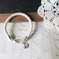 KNOTTY v.10 cream ivory nautical round rope bracelet with anchor charm (silver)