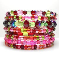 Memory Wire Bracelet Pink Red Green Stacked Beaded Wrap