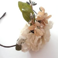 Bridal Hair Wreath with Vintage Flowers, Blush and White