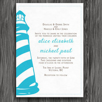 Wedding Invitation - Blue and Green Lighthouse - Customized Printable
