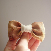 Bow brooch, handmade with upholstery fabric sample, cream, orange, copper with satin ribbon, fashion