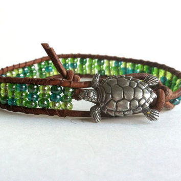 Sea Turtle Sea Green Leather Wrap Bracelet,Chan Luu, Beachy, Beaded Wrap