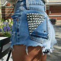 High Waisted Studded Pocket Cutoffs
