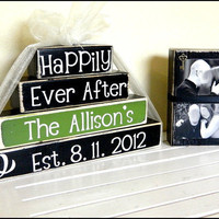 Personalized Happily Ever After wooden blocks for wedding or gift with picture everything included choose your own wedding color third block
