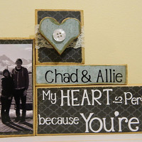 Personalized Wedding gift/Decoration My heart is perfect because you're in it wedding, shower, anniversary, birthday gift