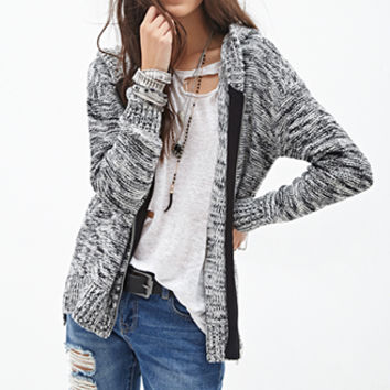 FOREVER 21 Marled Sweater-Knit Hoodie