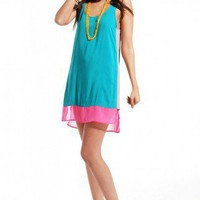 Colorblocked Loose Tank Dress in Teal