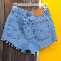 OOAK Destroyed Vintage Levis hipster jean shorts, floral detail with studs