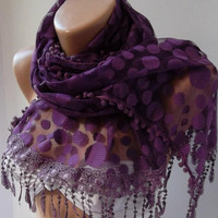 Purple  --- Elegance  Shawl -- Scarf with Lacy Edge--