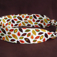 Falling Autumn Leaves Headband Fabric Headband - Adjustable Elastic - Earth Tones green brown cream orange yellow red - Woodland