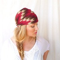 Chevron Headband Hairwrap  Headwrap turban red green chevron bohemian