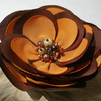 Chocolate Brown And Orange Flower Hair Pin, Clip Or Brooch
