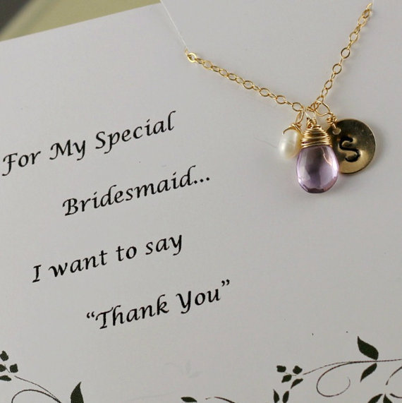 Bridesmaids Gifts, Monogram Necklace, Gold Filled Birthstone Gift, Pink Amethyst, Bridesmaid Necklace, Wedding Jewelry, Thank You Cards