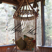 Handmade OOAK Macrame Vintage Retro Style Hanging Woodstock Hippie Elf Fairy Chair