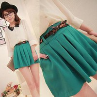 YESSTYLE: Goodies- High-Waist Pleated Culottes with Belt (Green - One Size) - Free International Shipping on orders over $150