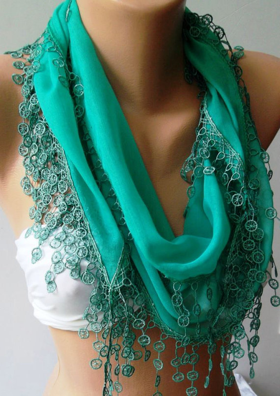 Nile Green - Cotton/ Traditional Turkish fabric / Anatolian Shawl/Scarf.