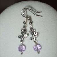 NEW 5 Dollar Earrings - Silver Flower and Lavender Faceted Glass Set