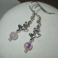 NEW 5 Dollar Earrings - Silver Flower and Pale Pink Glass Earrings